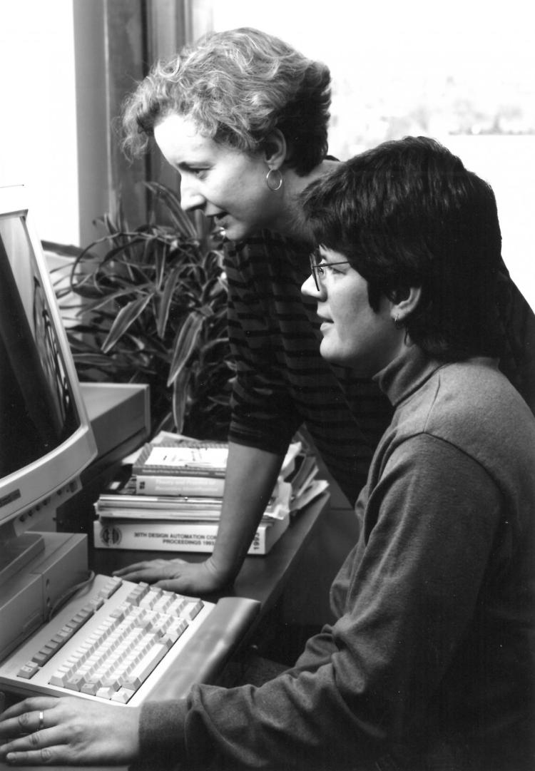 Liz Jessup and Liz Bradley work on a project in the 1990s