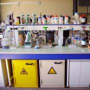 A workbench in a chemistry laboratory.