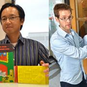 At left: Tom Yeh with a tactile picture book. At right: Aaron Clauset discusses big data problems at a whiteboard.