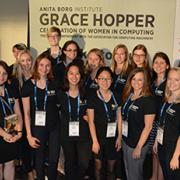 WIC members and other Zayo Scholars pose for a group picture at the Grace Hopper conference