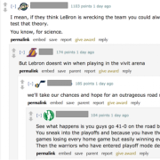 A reddit discussion thread about LeBron James