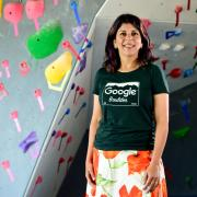 Bhavna Chhabra near the indoor climbing wall at Google in Boulder. Photo by the Daily Camera