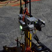 A close-up look at the LIDAR sensors on one of the MARBLE team's robots