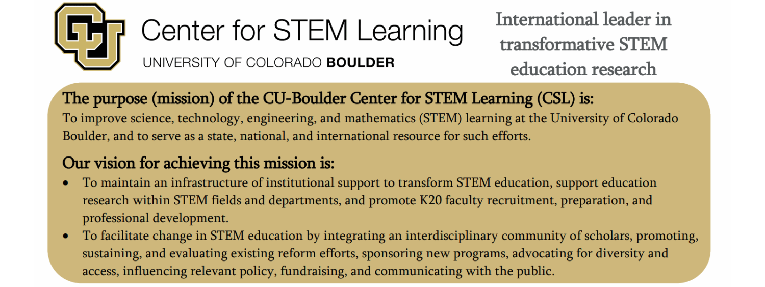 Center for STEM Learning, CU Boulder. International leader in transformative STEM education research.