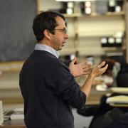 Steve Pollock speaking in a classroom
