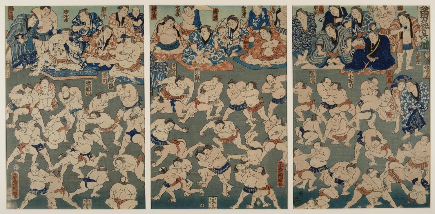 A triptych made up of three prints with many sumo wrestlers. At the top, men dressed in robes and sitting on patterned mats watch them wrestle.