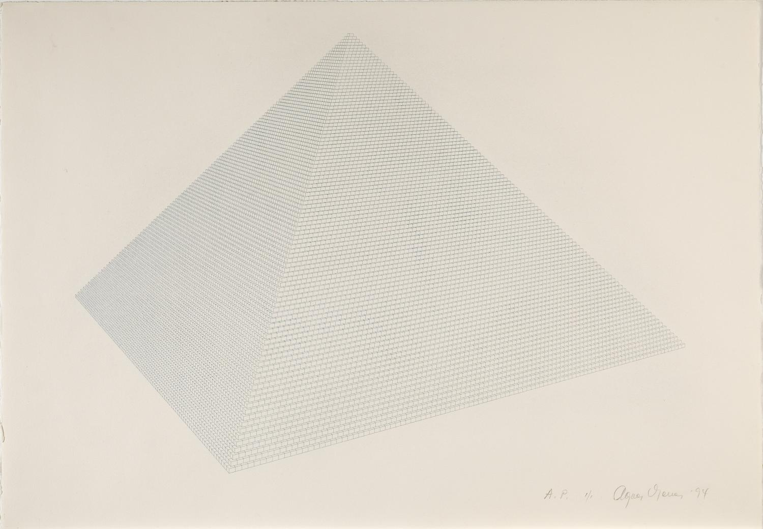 very detailed drawing of a pyramid