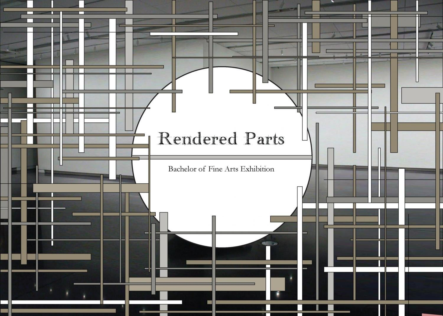 "An abstract pattern around the text ""rendered parts"""