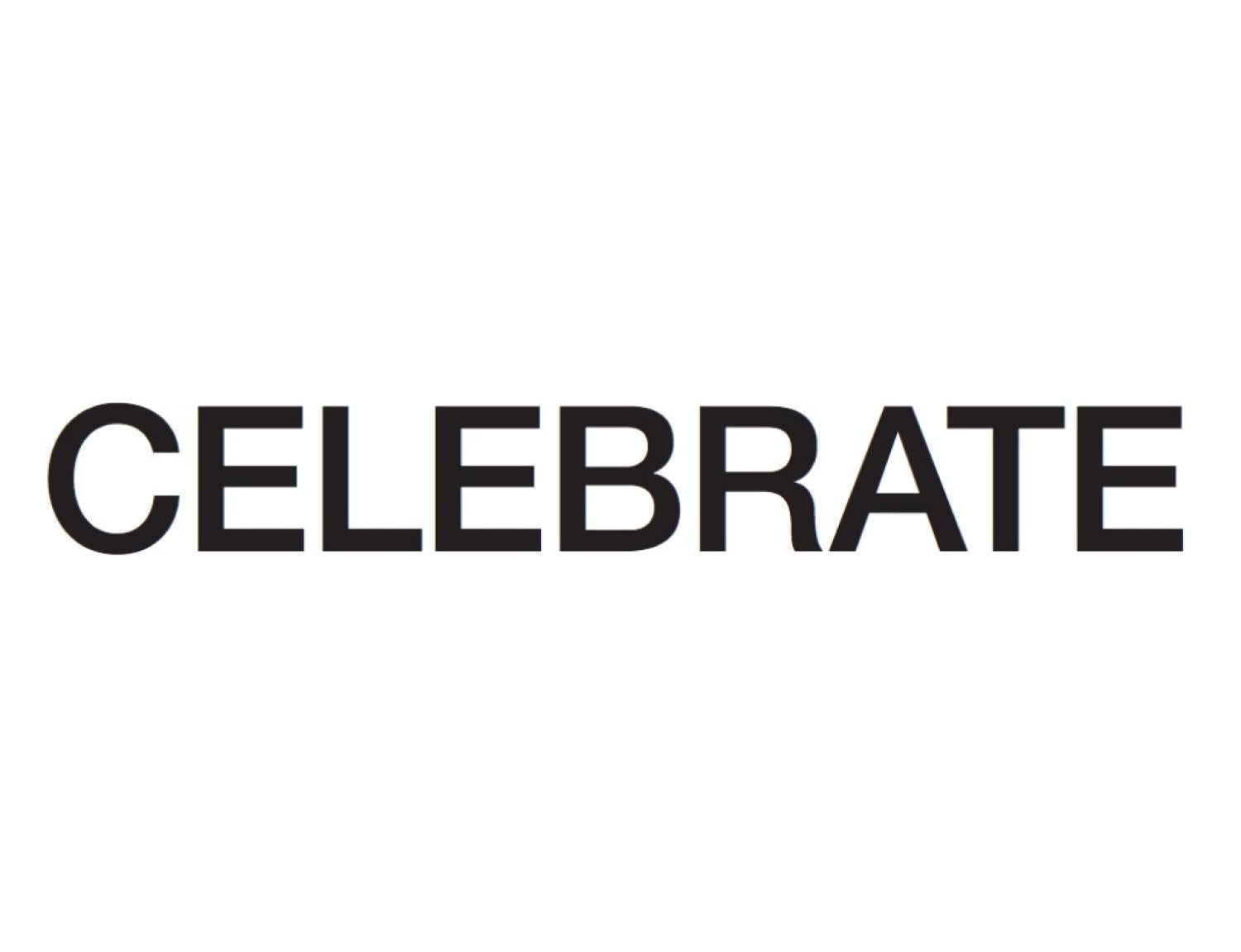 "The word ""Celebrate"" in black over white."