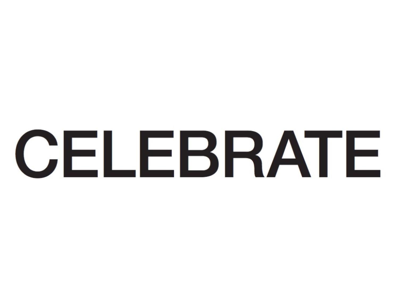 "The word ""Celebrate"" in black over white."