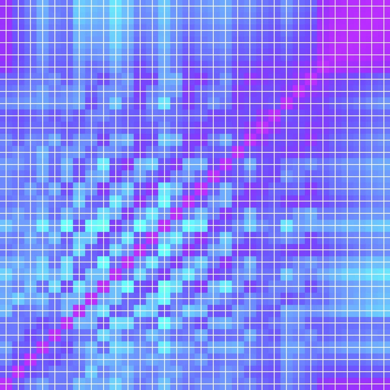 blue and pink squares with white grid overlayed