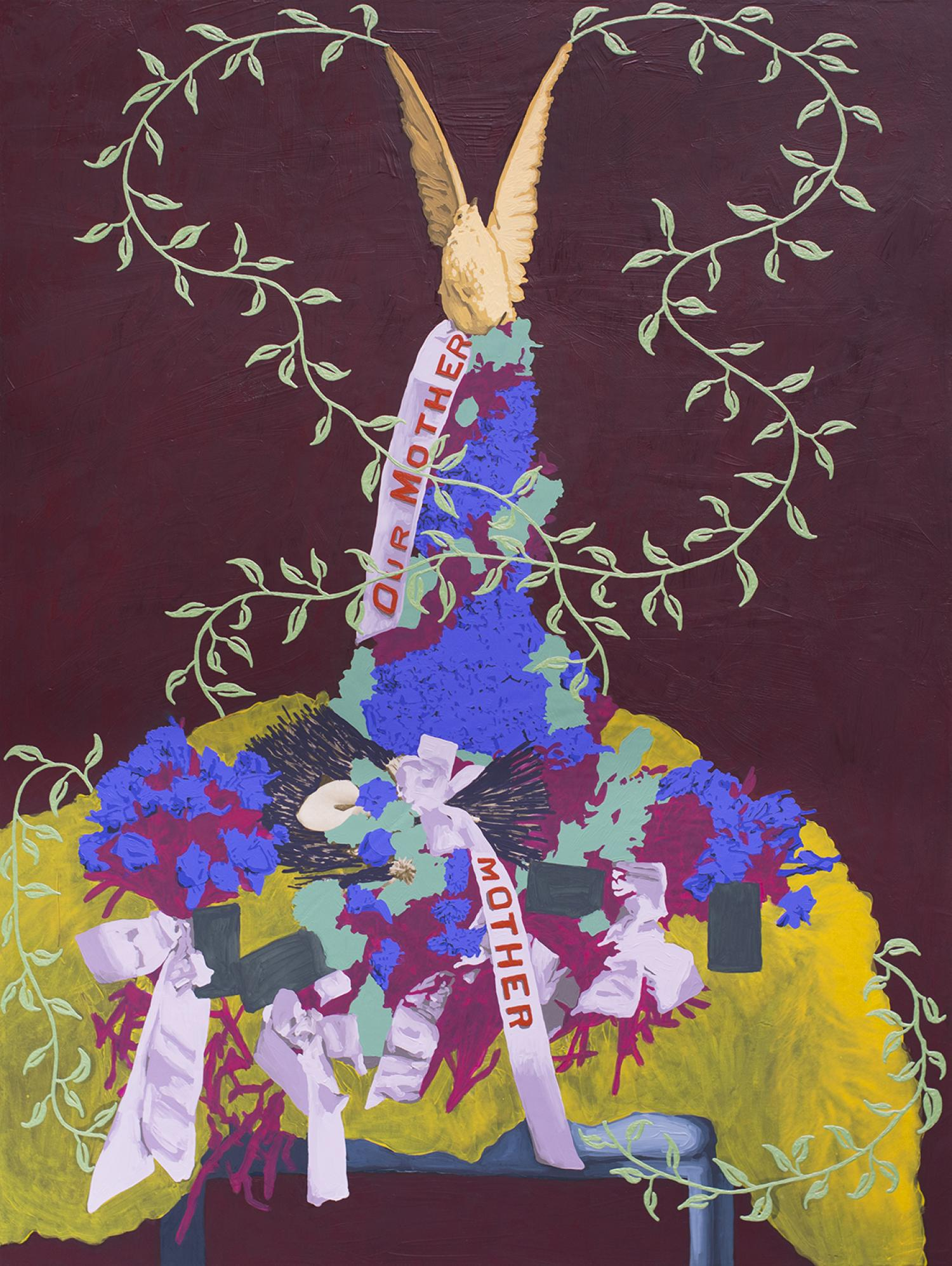 A painting of a funerary wreath with a dove