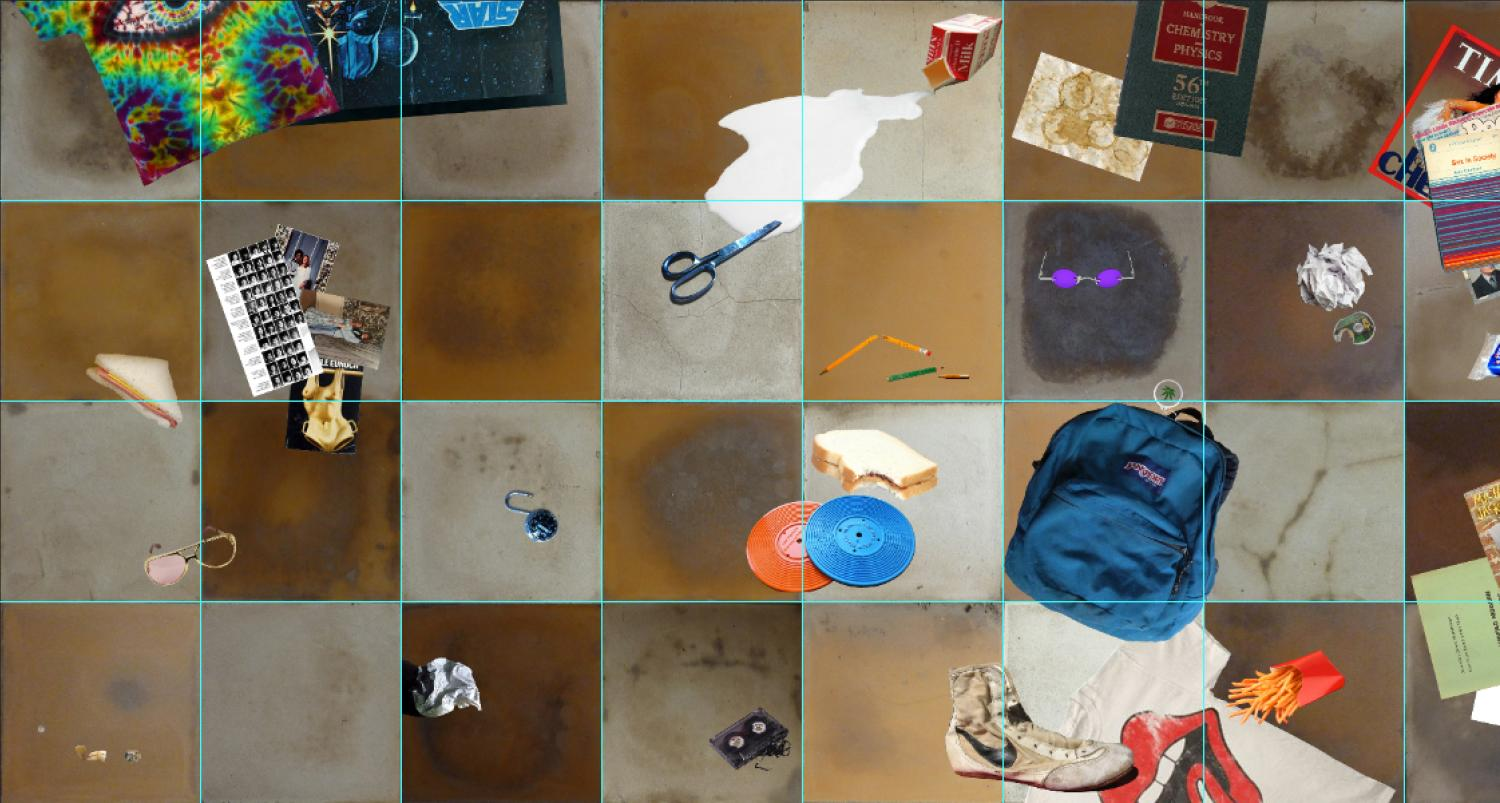 Image in grid format with everyday objects