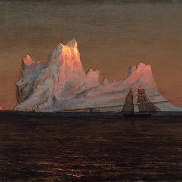 Painting of a ship in front of an iceberg