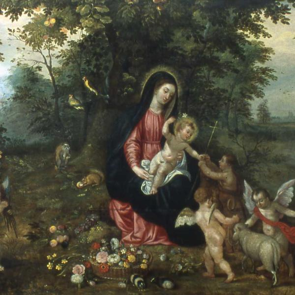 Woman (Mary) holds baby (Jesus) in a forest, while man (Joseph) leads a donkey on the right side of the painting