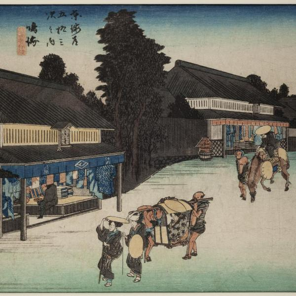 Japanese print of people carrying a pallenquin