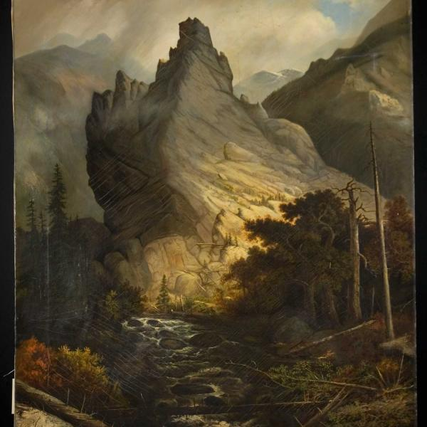 Painting of Mountain peak behind a stream