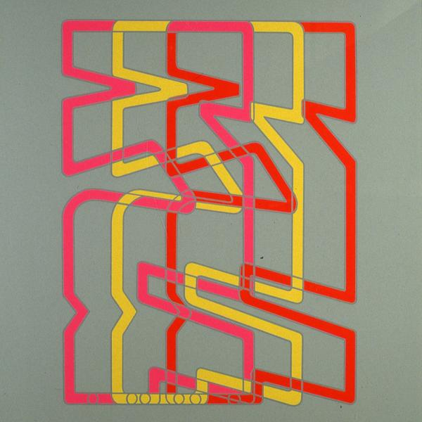 grey background with pink, yellow and red lines