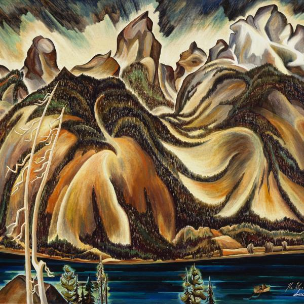 Highly stylized painting of the Tetons