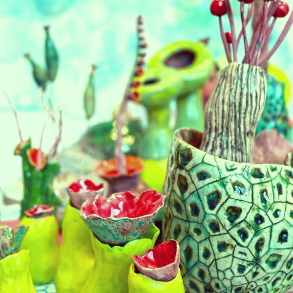 red and green ceramics