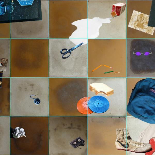 Image in a grid formate with everyday objects