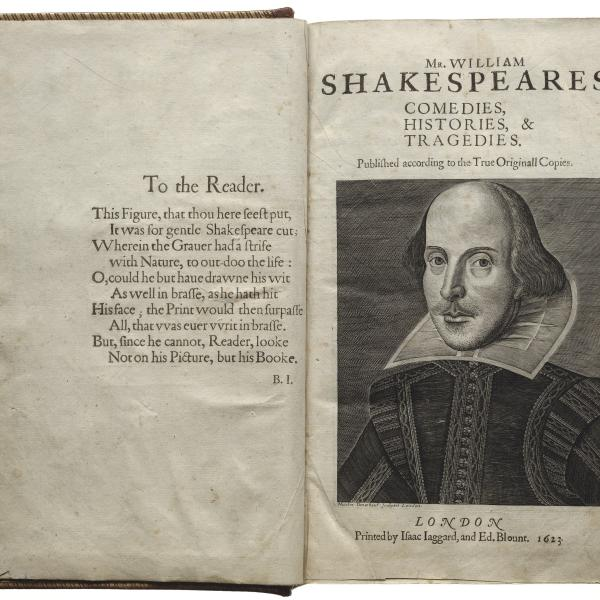 Title page of Shakespeare's First Folio shows an illustration of William Shakespeare.