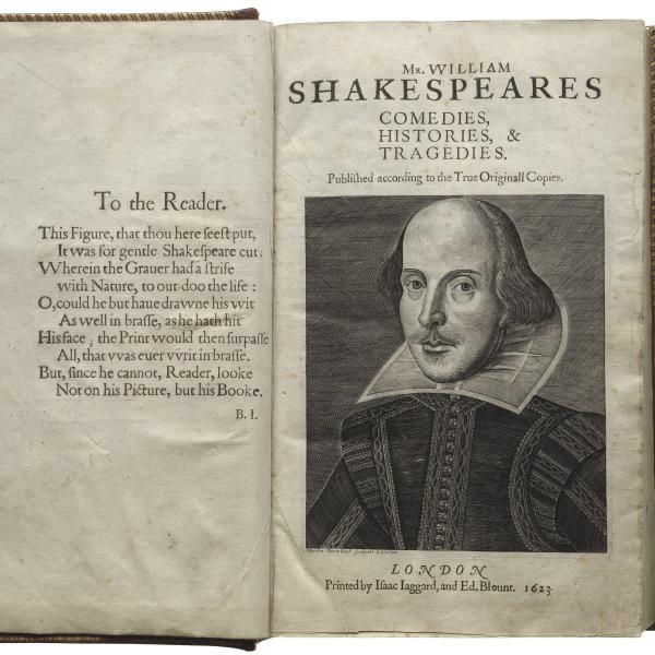 Title page of the First Folio with illustration of William Shakespeare.