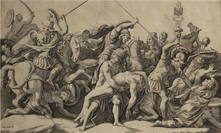 A print with many masculine figures engaging in battle, some on horseback, some on foot. In the center, one man is holding the body of a fallen man.