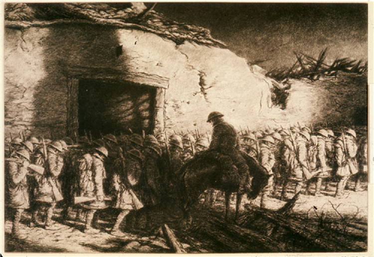 Soldiers standing in lines; all with heads lowered.