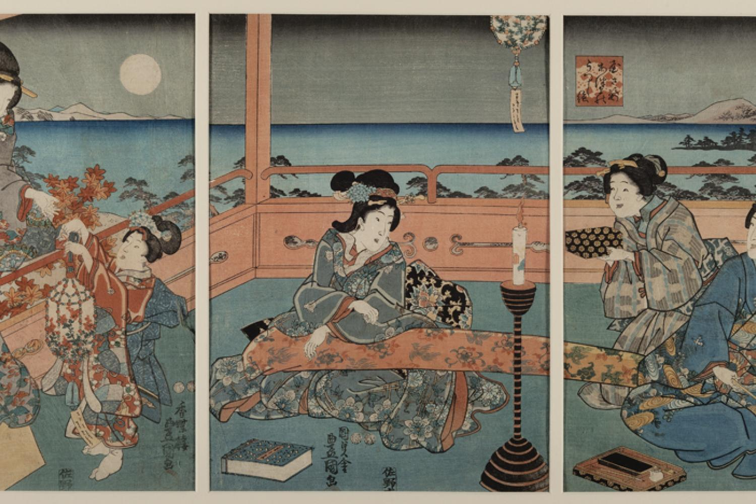 A woodblock print depicting five figures at night viewing the moon.