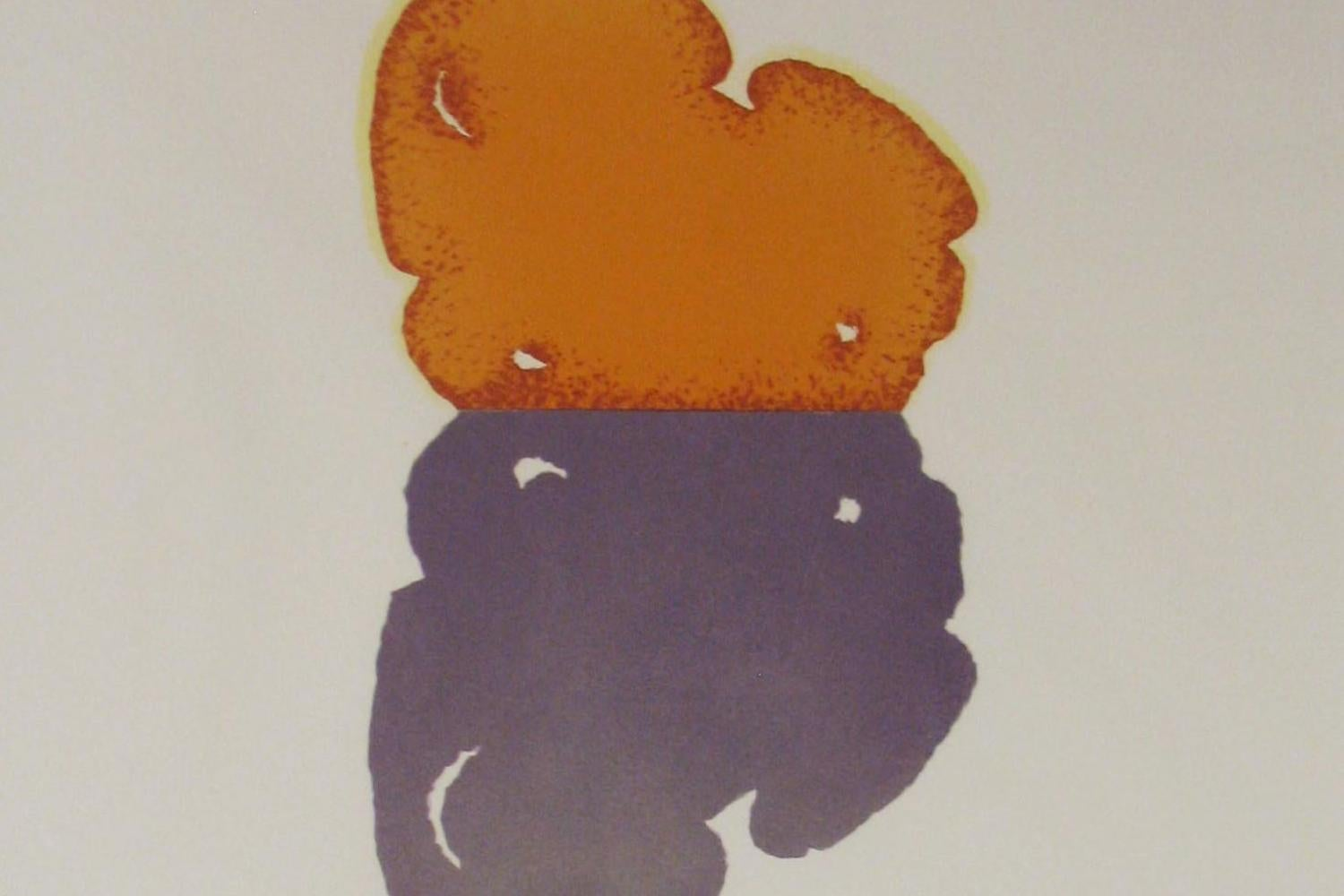 An abstract print with fields of orange and purple on a white page