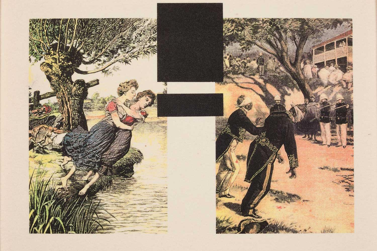 print with two sections, on the right there are two women falling into a river, on the left there are two african american soldiers in front of a firing squad