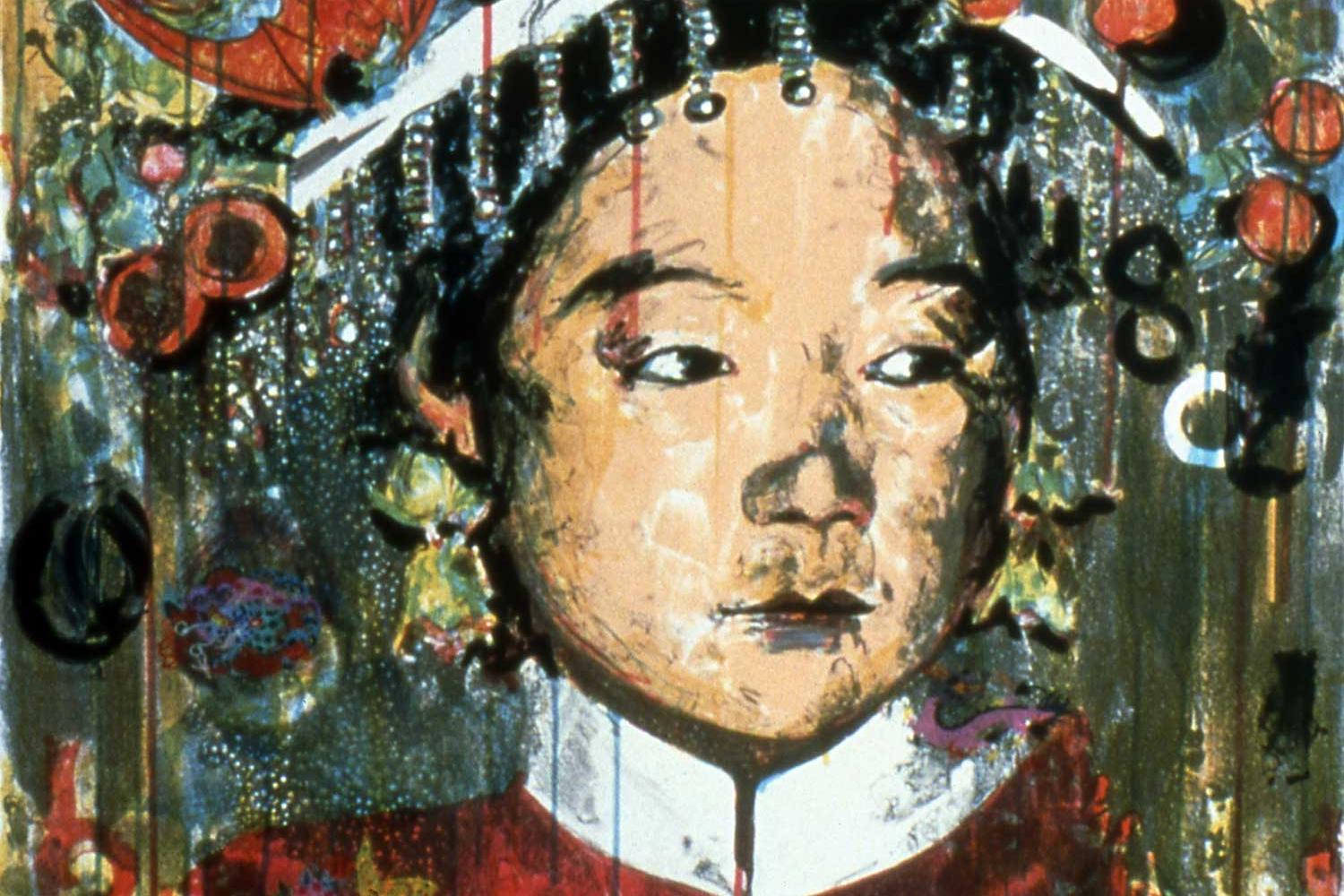 highly stylized painting of a Chinese woman in a traditional hat.