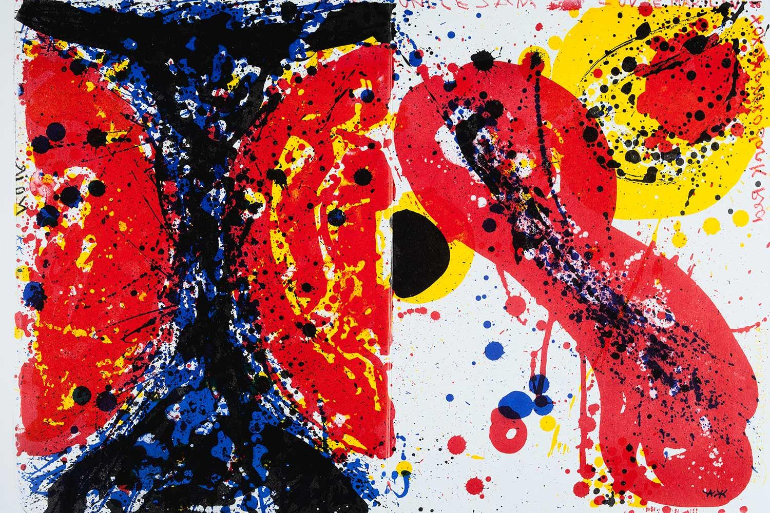 abstract print with large areas of red, yellow, white and dark blue