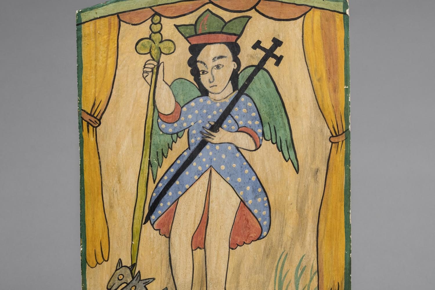 painting on wood of the archangel san miguel