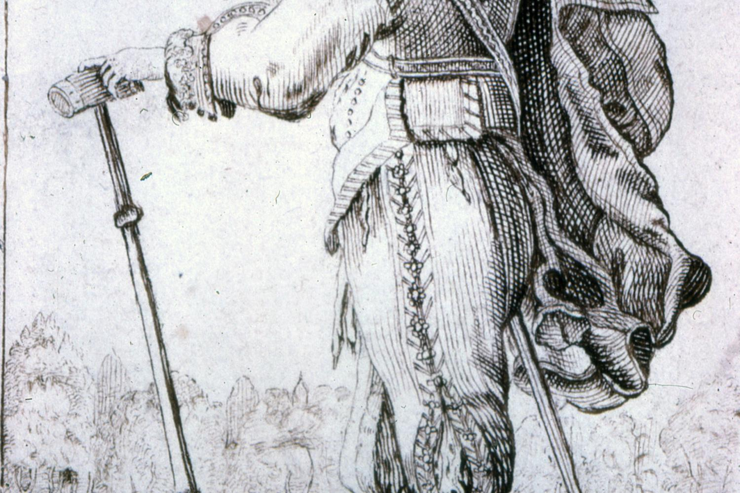 print of a renaissance era man with a fancy hat facing away from the viewer