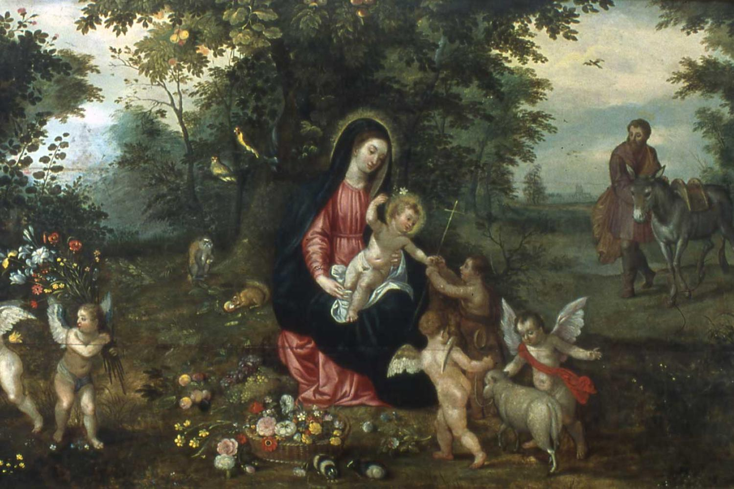 Painting of woman (Mary) holding baby (Jesus) surrounded by cherubs while man (Joseph) walks with mule.