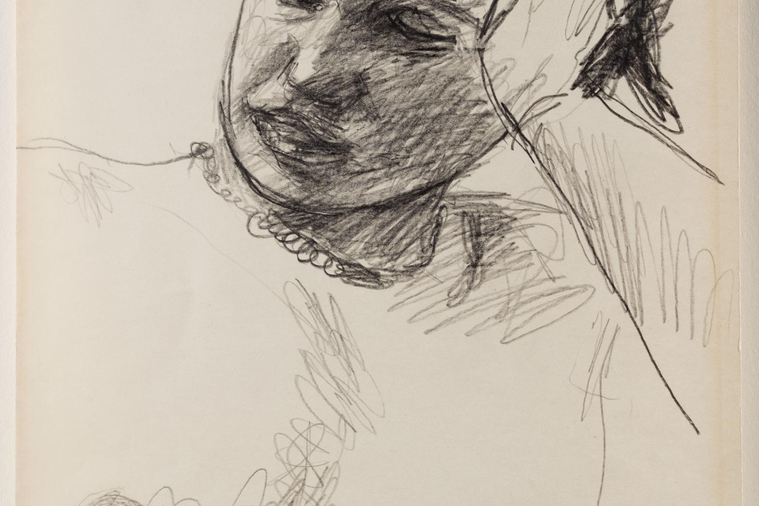 loose drawing of a woman's torso and head