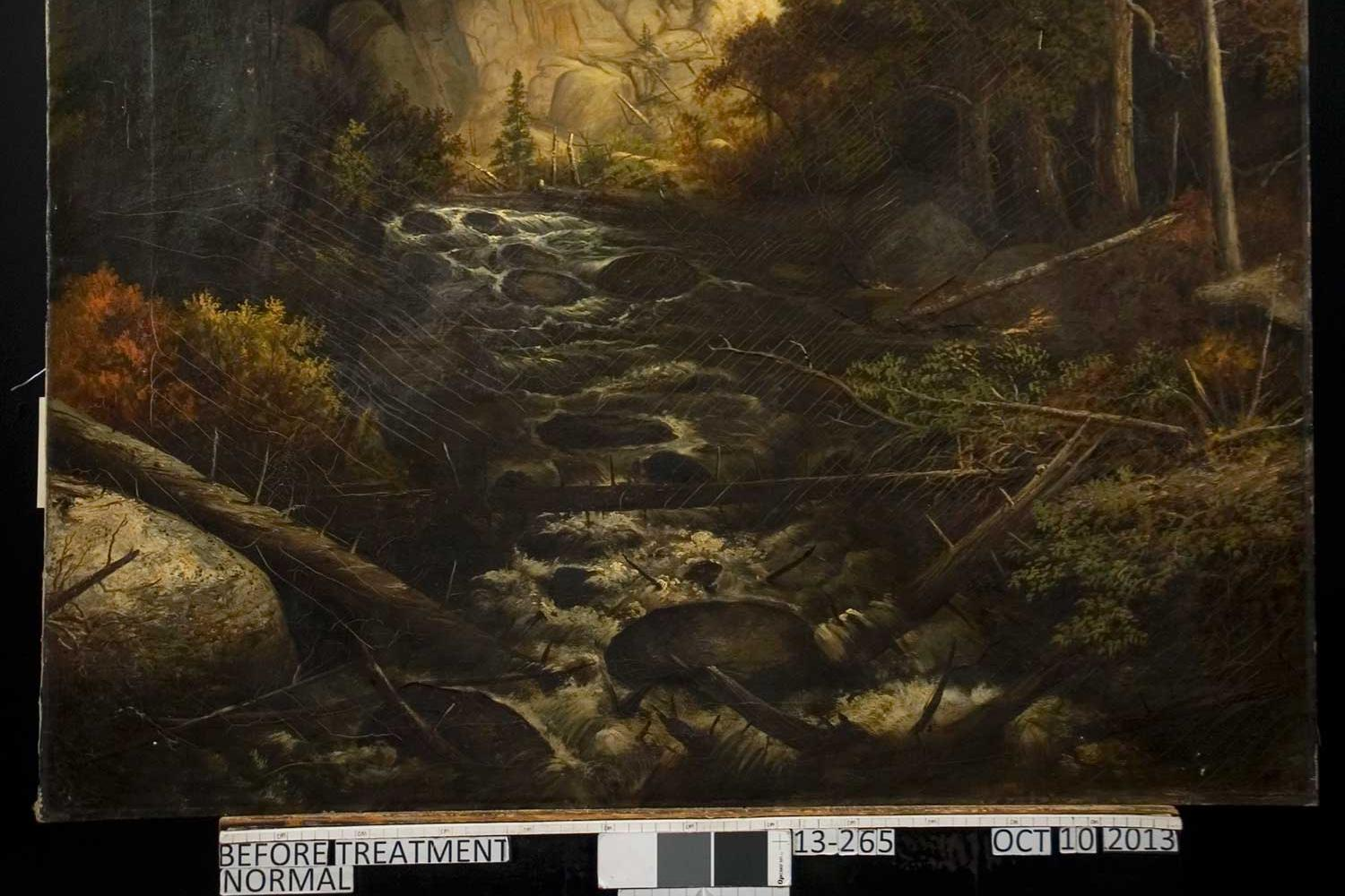 Painting of Mountain stream with trees