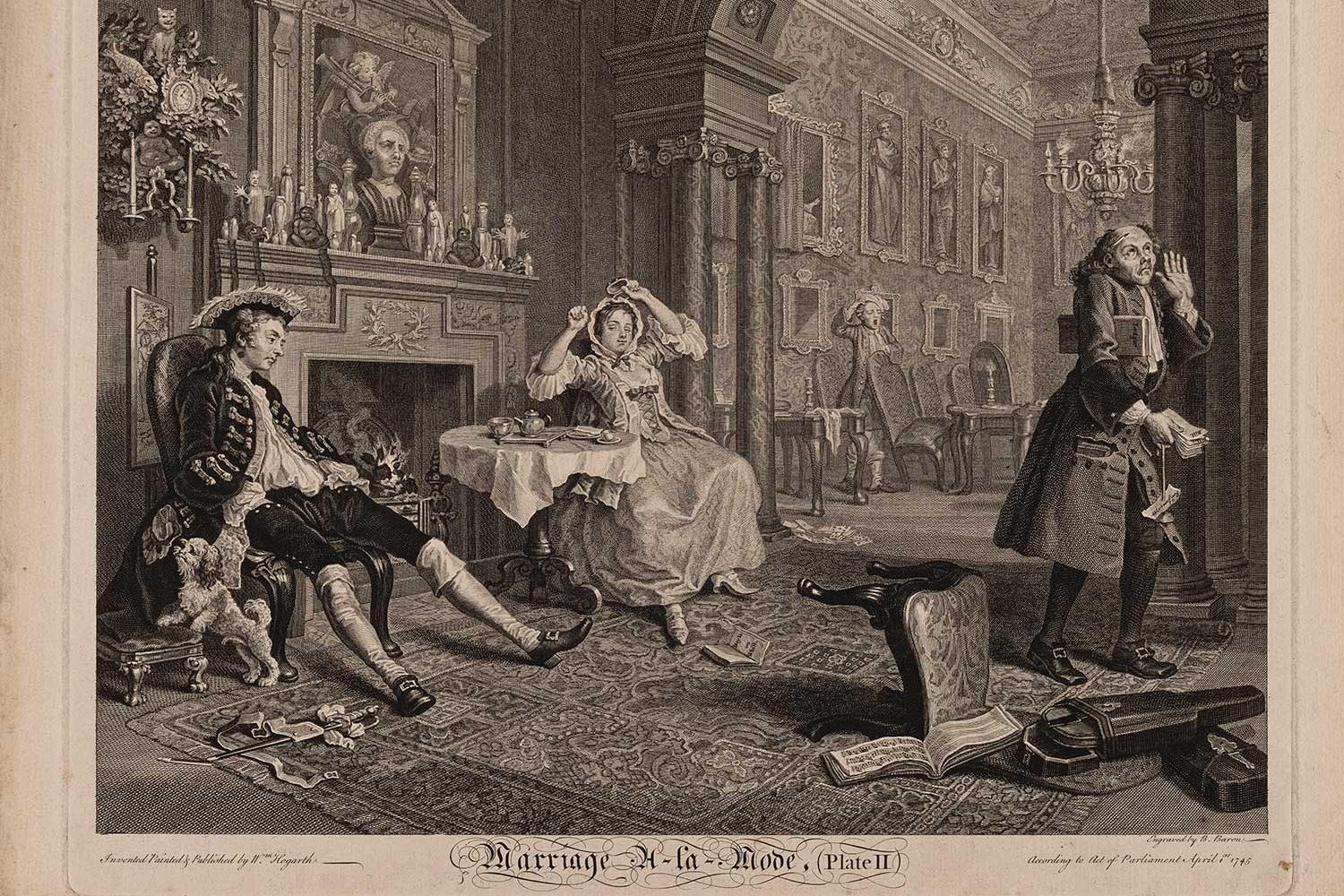print of a domestic scene of a woman and two men
