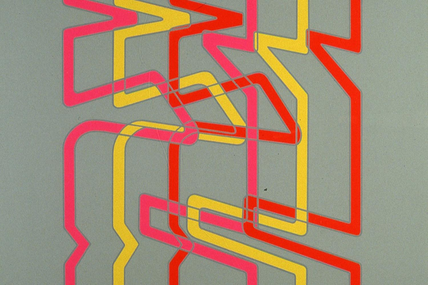 grey background with pink, red and yellow lines