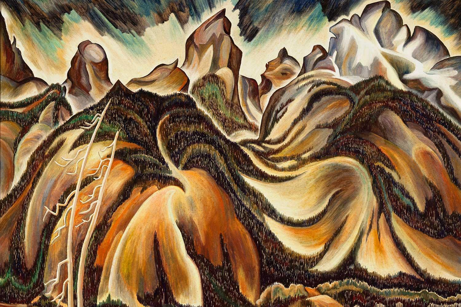 highly stylized painting of the Grand Tetons