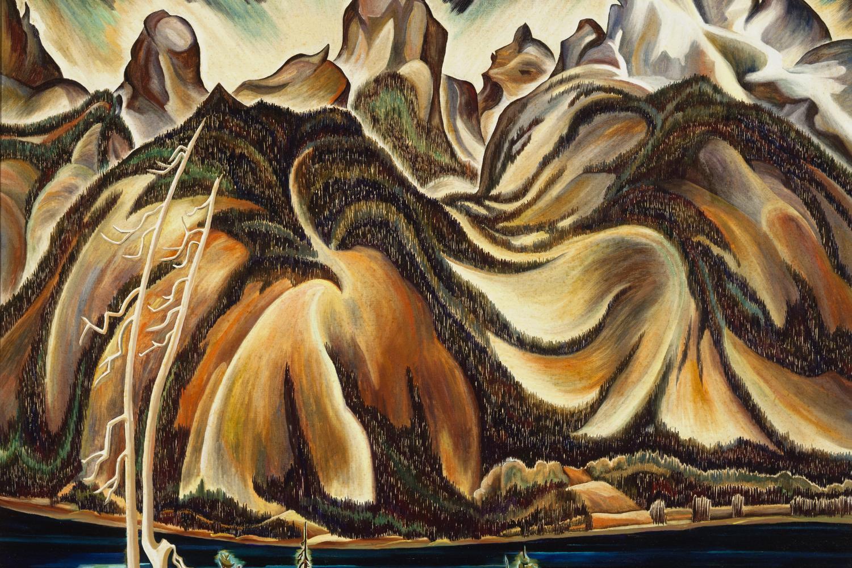 highly stylized painting of the Teton Mountain range