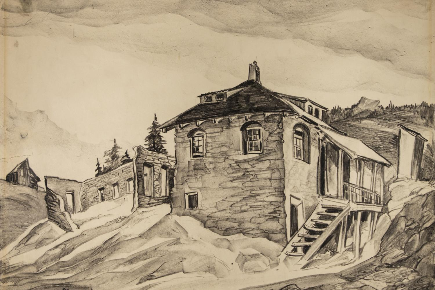 Pencil drawing of a post office in the mountains