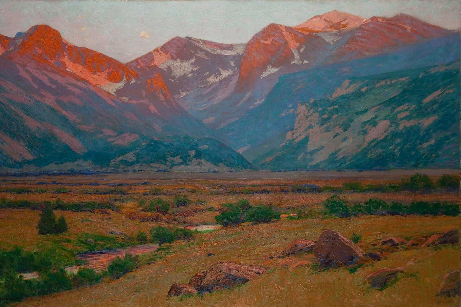 painting of a mountain valley at sunrise