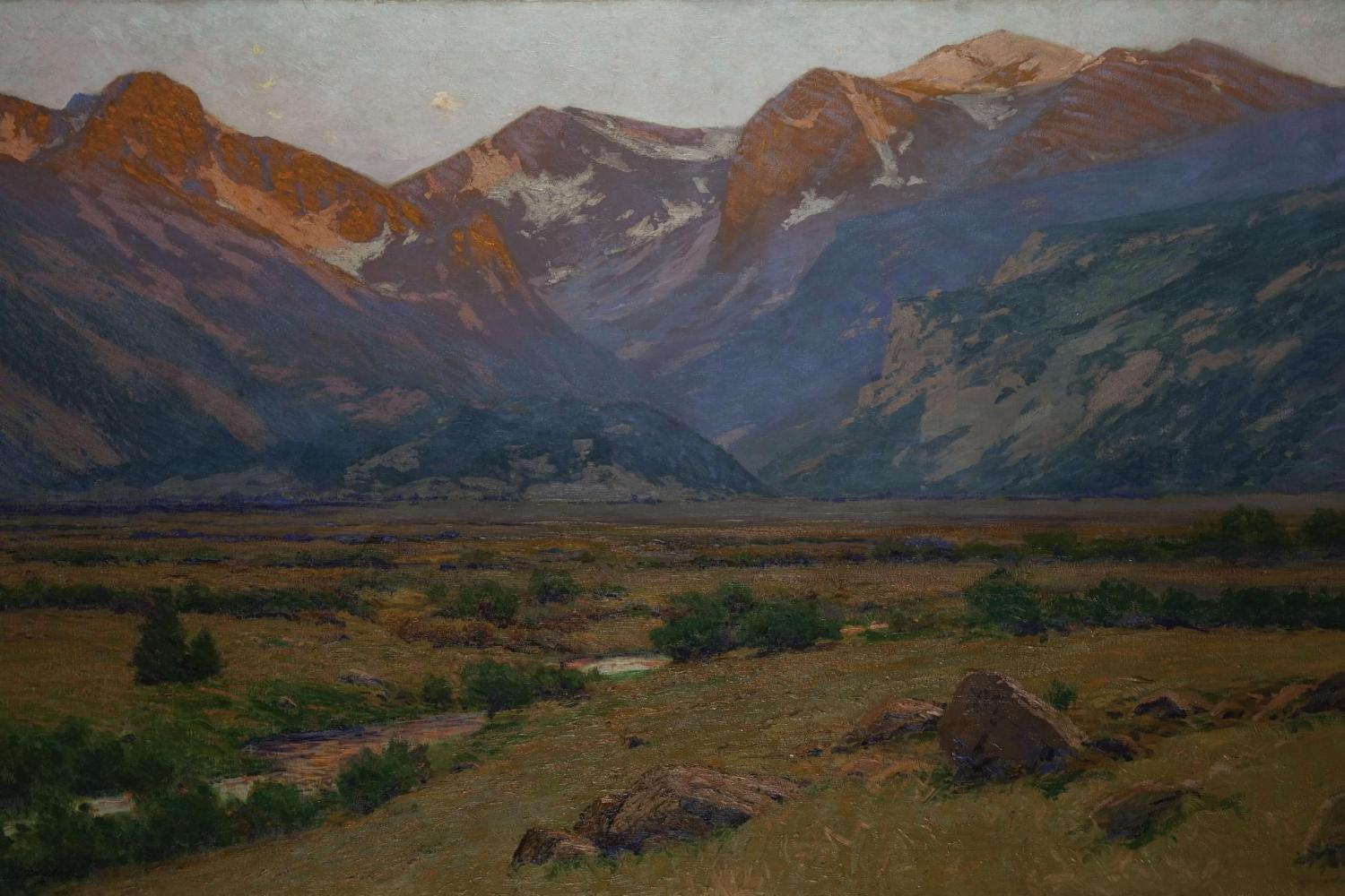 Painting of a mountain valley