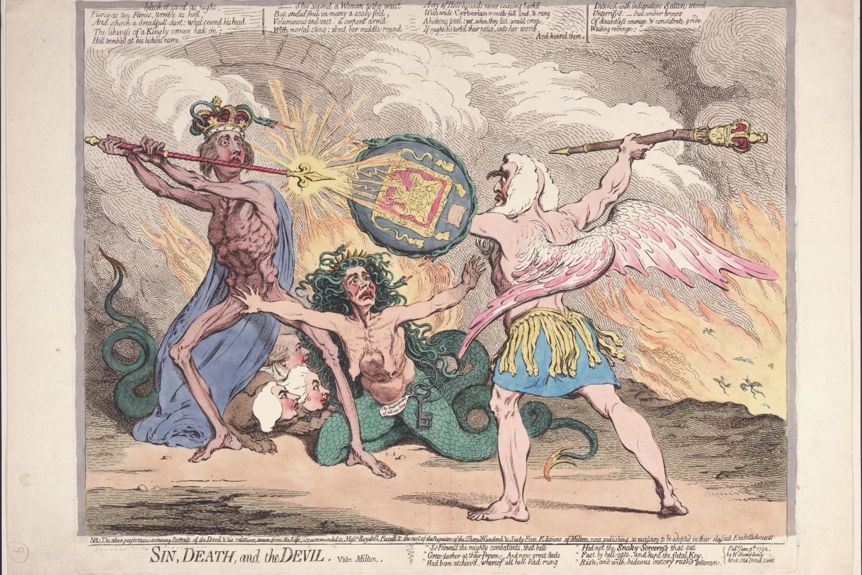 An illustration of three men fighting