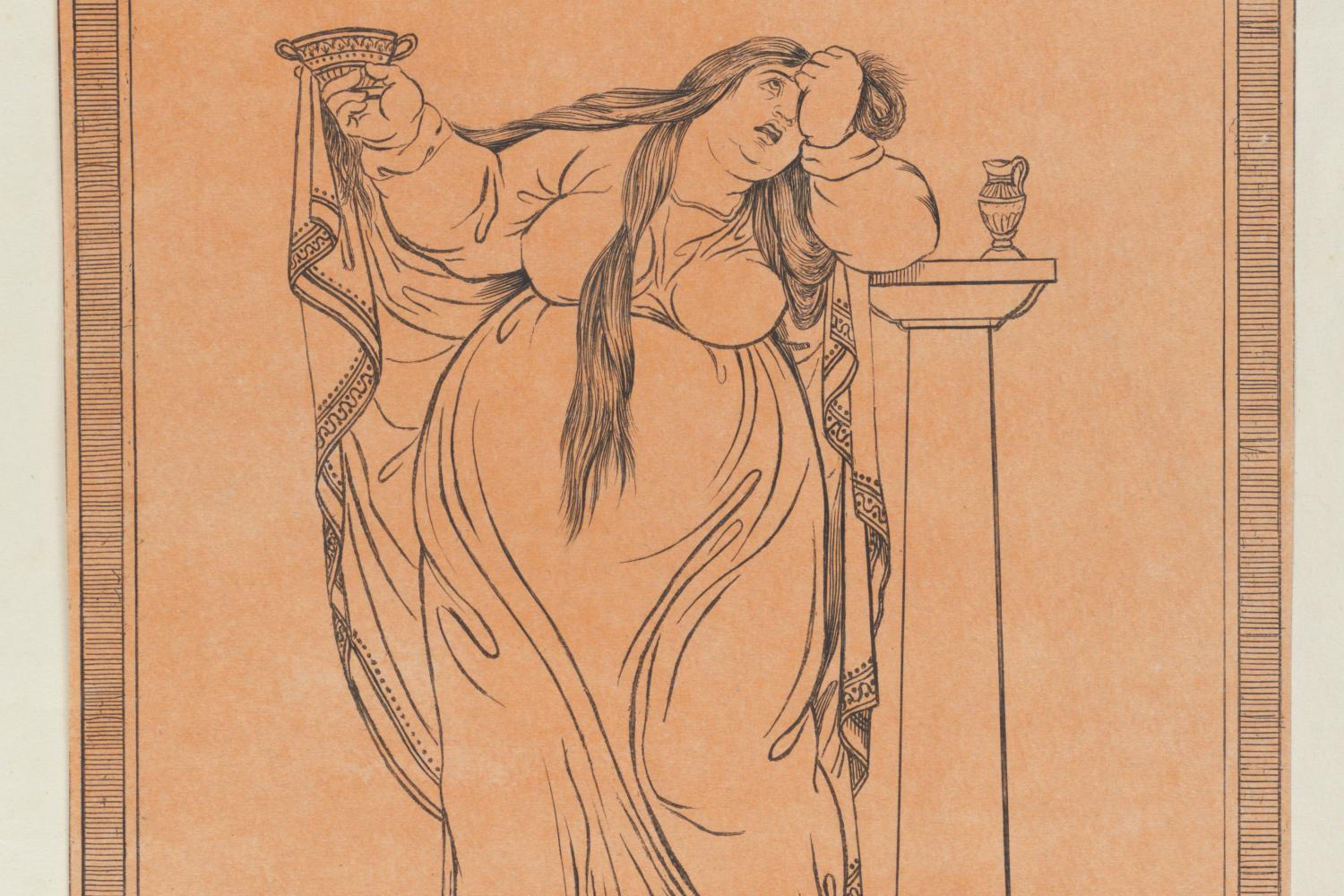 A print of an obese women looking forlorn