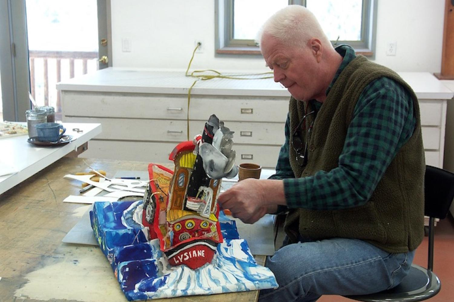 Red Grooms at work in the studio