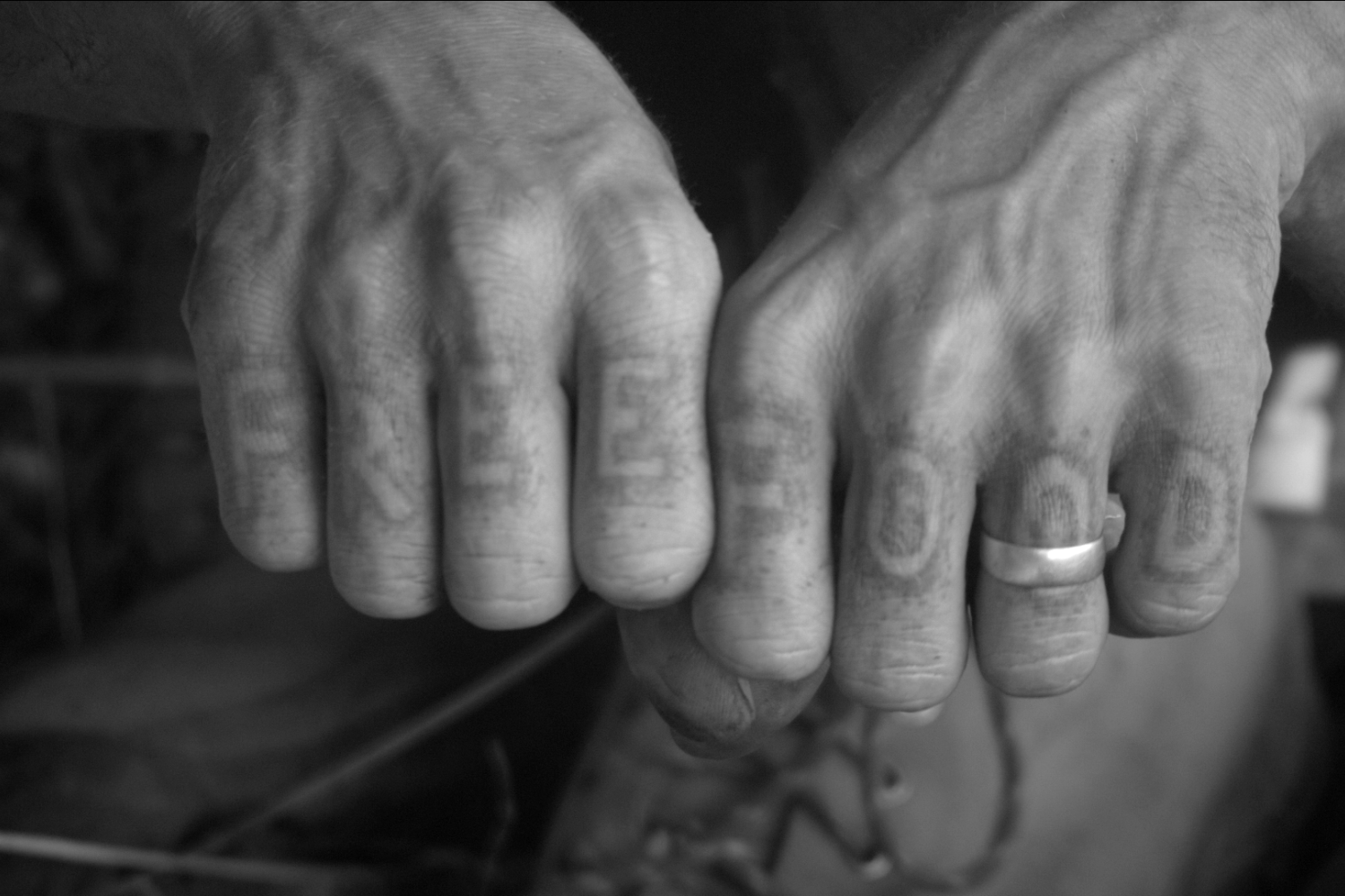 Black and white photo of a pair of fists with the words 'free' and 'food' on the knuckles.